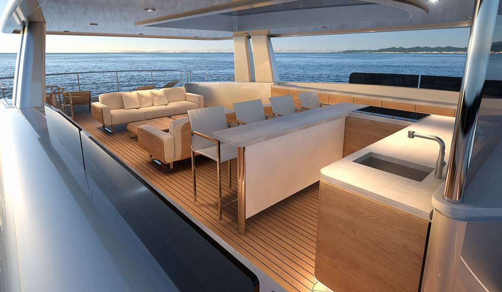 View of interior design concept for 122' Tri-Deck