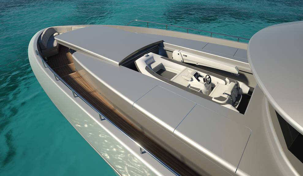 Ariel view of boat storage on 122' Tri-Deck