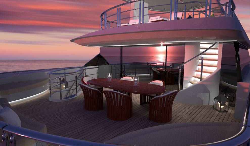 View of dining area at night on 144' Tri-Deck