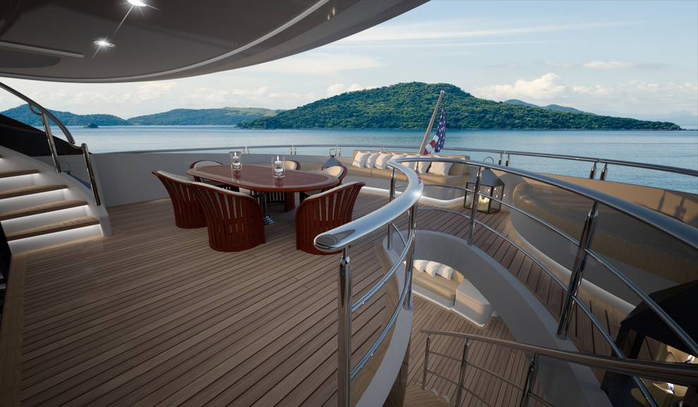View of dining area on 144' Tri-Deck