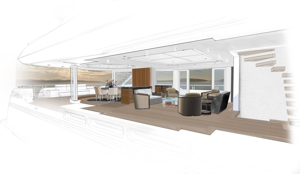 Drawing of interior gathering area on 144' Tri-Deck