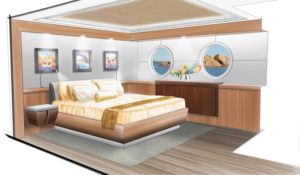 Drawing of bedroom on 144' Tri-Deck