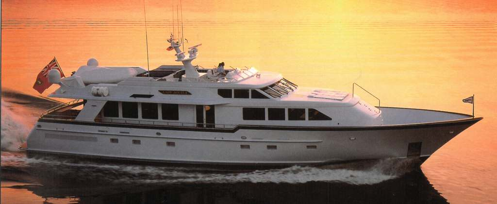 Arial side view of LADY AQUILA in the sunset